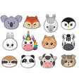 collection of cute animal faces big icon vector image vector image