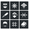 Criminal racial groups in prison icons set vector image