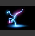 dancing neon stick figure vector image vector image