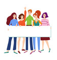 female friends hugging and holding empty banner vector image vector image