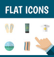 flat icon season set of ocean moisturizer beach vector image vector image