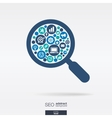 flat icons in an magnifier glass shape technology vector image vector image