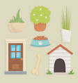 garden and house dog icons vector image