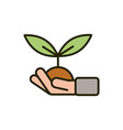 hand with plant soil growth nature drawing vector image