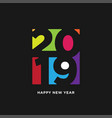 happy new year 2019 card in paper style isolated vector image