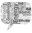 home energy ll text background wordcloud concept vector image vector image