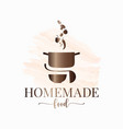 homemade food watercolor logo pan with vegetables vector image vector image