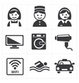 Hotel Services Icon set vector image vector image