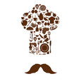 kitchen tool icons on chef hat with mustache vector image vector image