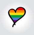 lgbt pride flag heart-shaped hand drawn logo vector image