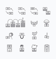 linear web icons set - business money currency vector image vector image