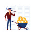 man with pickaxe and barrow full of crypto coins vector image