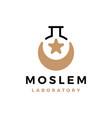moslem laboratory crescent moon star logo icon vector image vector image