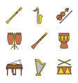 musical instruments color icons set vector image