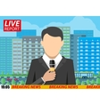 News reporter men with microphone on street vector image vector image