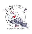 pigeon post emblem vector image vector image
