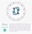 pisces in zodiac wheel horoscope chart vector image