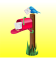 realistic mailbox and a bird vector image