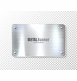 realistic shiny metal banner brushed steel plate vector image