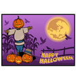 scarecrow pumpkin halloween banner design vector image vector image