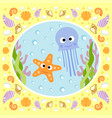 sea background card with jellyfish and starfish vector image vector image