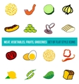 set of vegetables groceries and spices vector image vector image