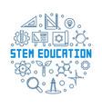 stem education blue outline round vector image vector image