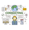 thin line flat design Consulting concept vector image vector image