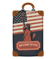 travel bag with flag usa and statue liberty vector image vector image