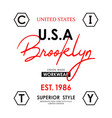usa brooklyn design typography slogan vector image vector image