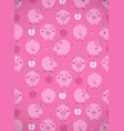 vertical greeting card with cute cartoon pink vector image vector image