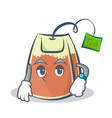 waiting tea bag character cartoon art vector image vector image