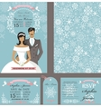 wedding invitation cardsbridegroomwinter season vector image vector image