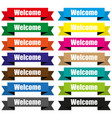 welcome on colored ribbons origami vector image vector image