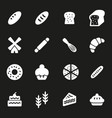 white bakery icons set vector image