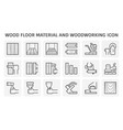 wood floor material and woodworking icon set vector image