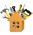 wooden house with tools vector image vector image