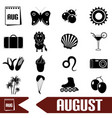 august month theme set of simple icons eps10 vector image vector image