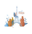autumn eiffel tower icon paris fall season vector image vector image