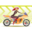 Beautiful biker girl vector image