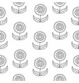 black and white doodle flowers pattern with vector image