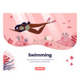 black woman swimming with mask underwater sea vector image