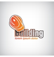 building icon with helmet isolated vector image