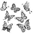 butterflies contours vector image vector image