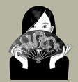 chinese girl girl covers her face with a fan vector image vector image