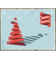 Christmas vintage card with ribbon tree vector image vector image