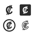 colon currency symbol set vector image vector image