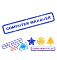 Computer Manager Rubber Stamp vector image vector image
