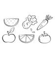 doodle sets fruits vector image