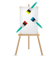 easel and paint brush vector image